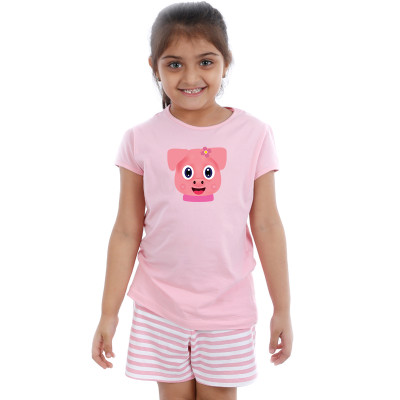 Pink Half sleeve Girls Pyjama- Brownie